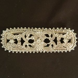 Jewelry - Silver Rectangular Brooch with Rhinestones